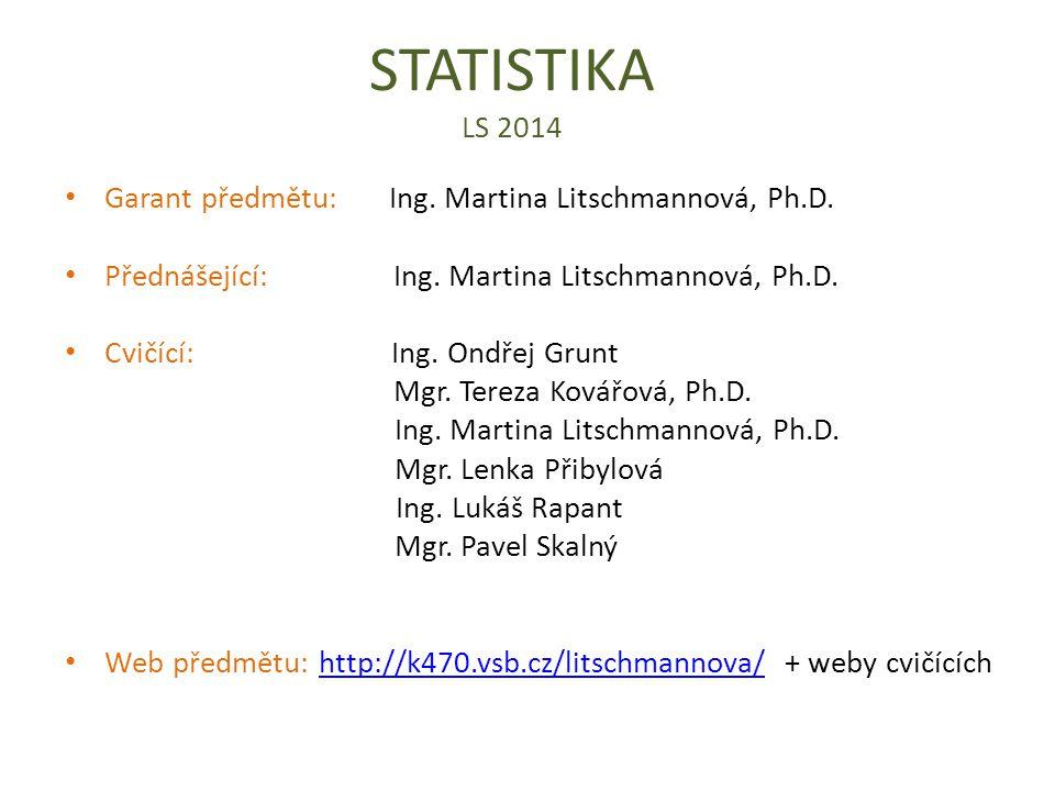 STATISTIKA LS 2014 Garant předmětu: Ing.Martina Litschmannová, Ph.D.