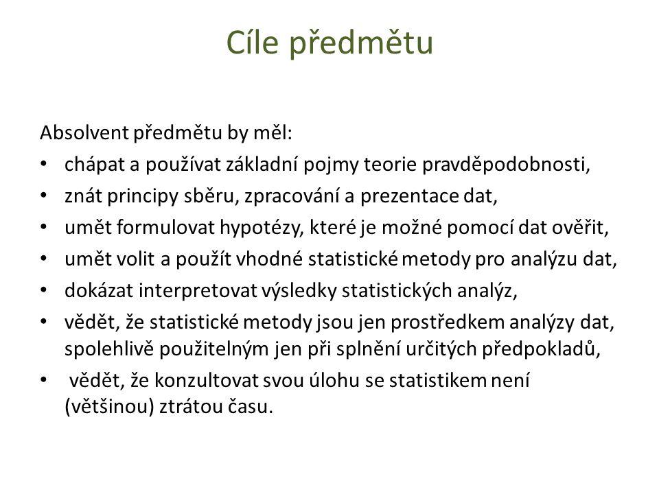 Cíle předmětu Absolvent předmětu by měl: chápat a používat základní pojmy teorie pravděpodobnosti, znát principy sběru, zpracování a prezentace dat, umět formulovat hypotézy, které je možné pomocí dat ověřit, umět volit a použít vhodné statistické metody pro analýzu dat, dokázat interpretovat výsledky statistických analýz, vědět, že statistické metody jsou jen prostředkem analýzy dat, spolehlivě použitelným jen při splnění určitých předpokladů, vědět, že konzultovat svou úlohu se statistikem není (většinou) ztrátou času.