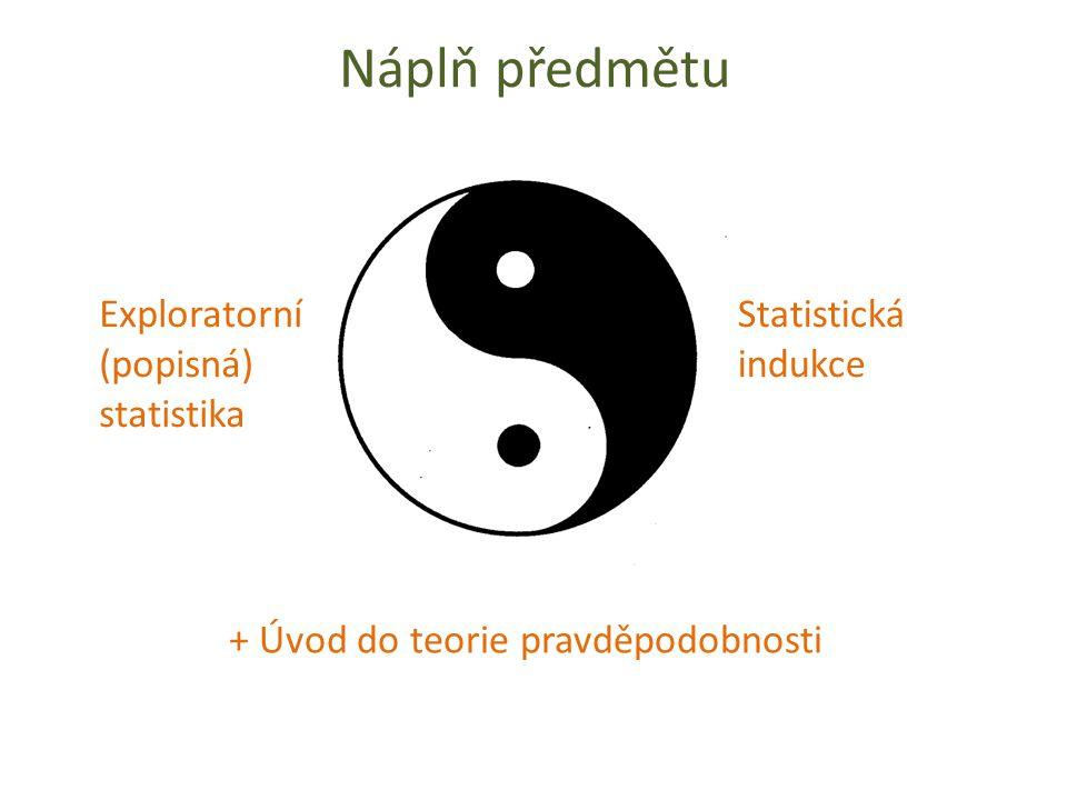 Náplň předmětu Exploratorní (popisná) statistika Statistická indukce + Úvod do teorie pravděpodobnosti