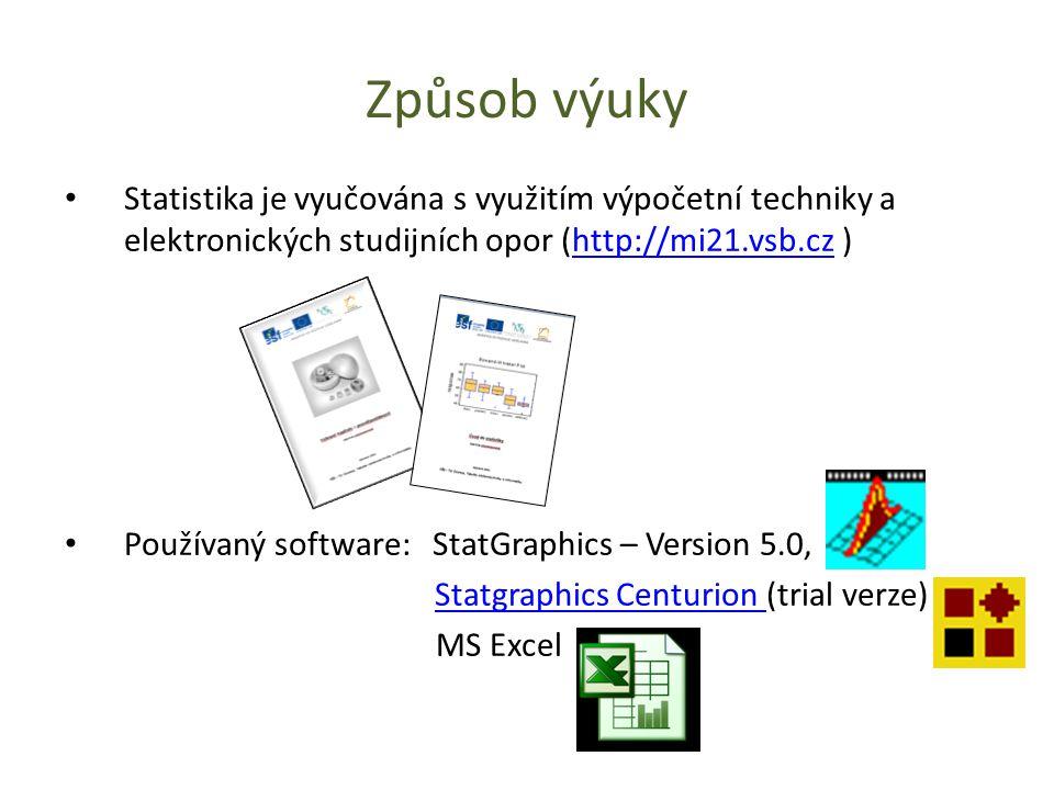 Způsob výuky Statistika je vyučována s využitím výpočetní techniky a elektronických studijních opor (http://mi21.vsb.cz )http://mi21.vsb.cz Používaný software: StatGraphics – Version 5.0, Statgraphics Centurion (trial verze)Statgraphics Centurion MS Excel
