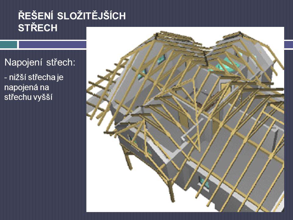 ŘEŠENÍ SLOŽITĚJŠÍCH STŘECH Napojení střech: - nižší střecha je napojená na střechu vyšší