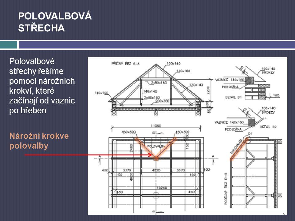 Polovalbové střechy řešíme pomocí nárožních krokví, které začínají od vaznic po hřeben - Nárožní krokve polovalby POLOVALBOVÁ STŘECHA