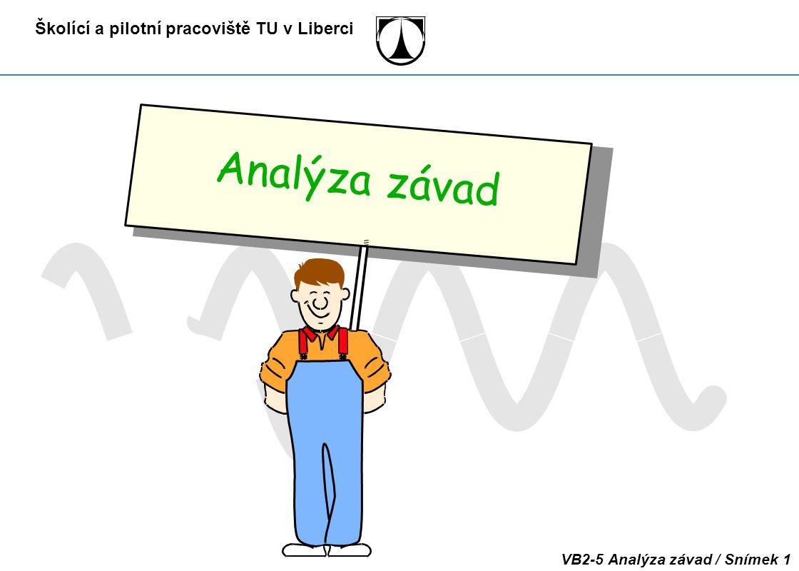 Školící a pilotní pracoviště TU v Liberci VB2-5 Analýza závad / Snímek 1 Analýza závad