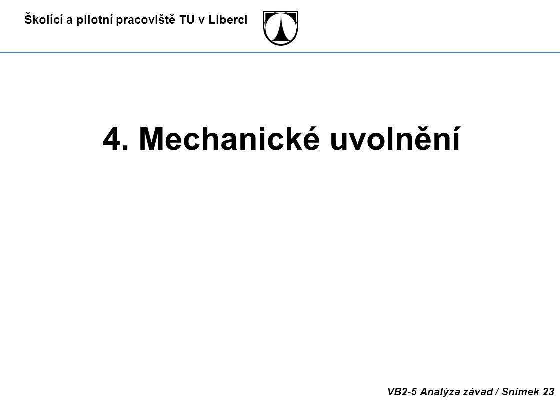 Školící a pilotní pracoviště TU v Liberci VB2-5 Analýza závad / Snímek 23 4. Mechanické uvolnění