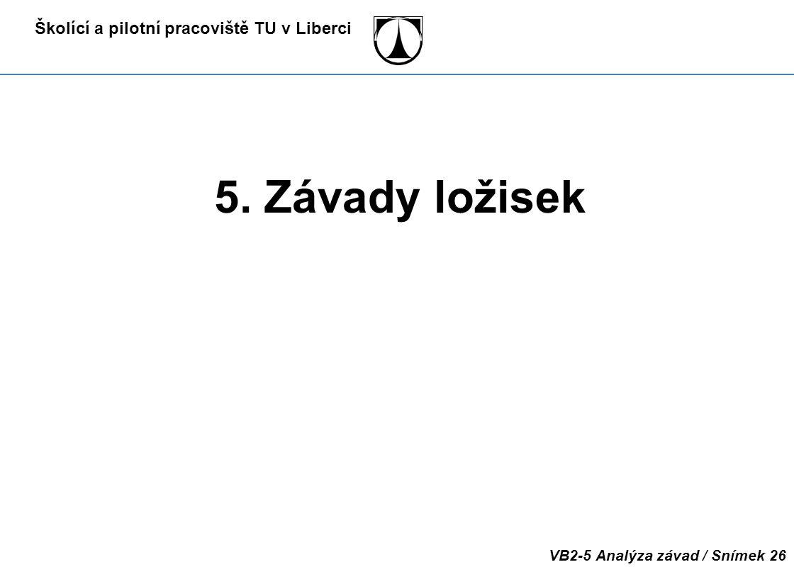 Školící a pilotní pracoviště TU v Liberci VB2-5 Analýza závad / Snímek 26 5. Závady ložisek