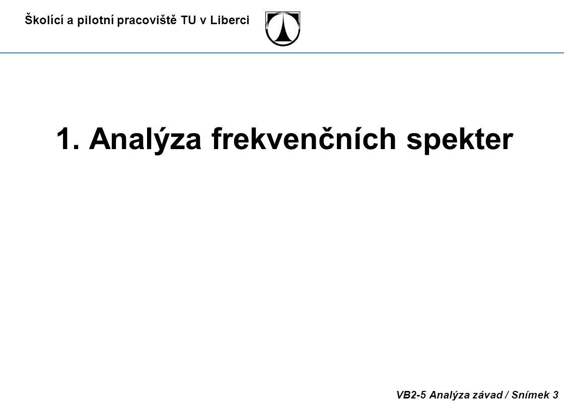 Školící a pilotní pracoviště TU v Liberci VB2-5 Analýza závad / Snímek 3 1. Analýza frekvenčních spekter