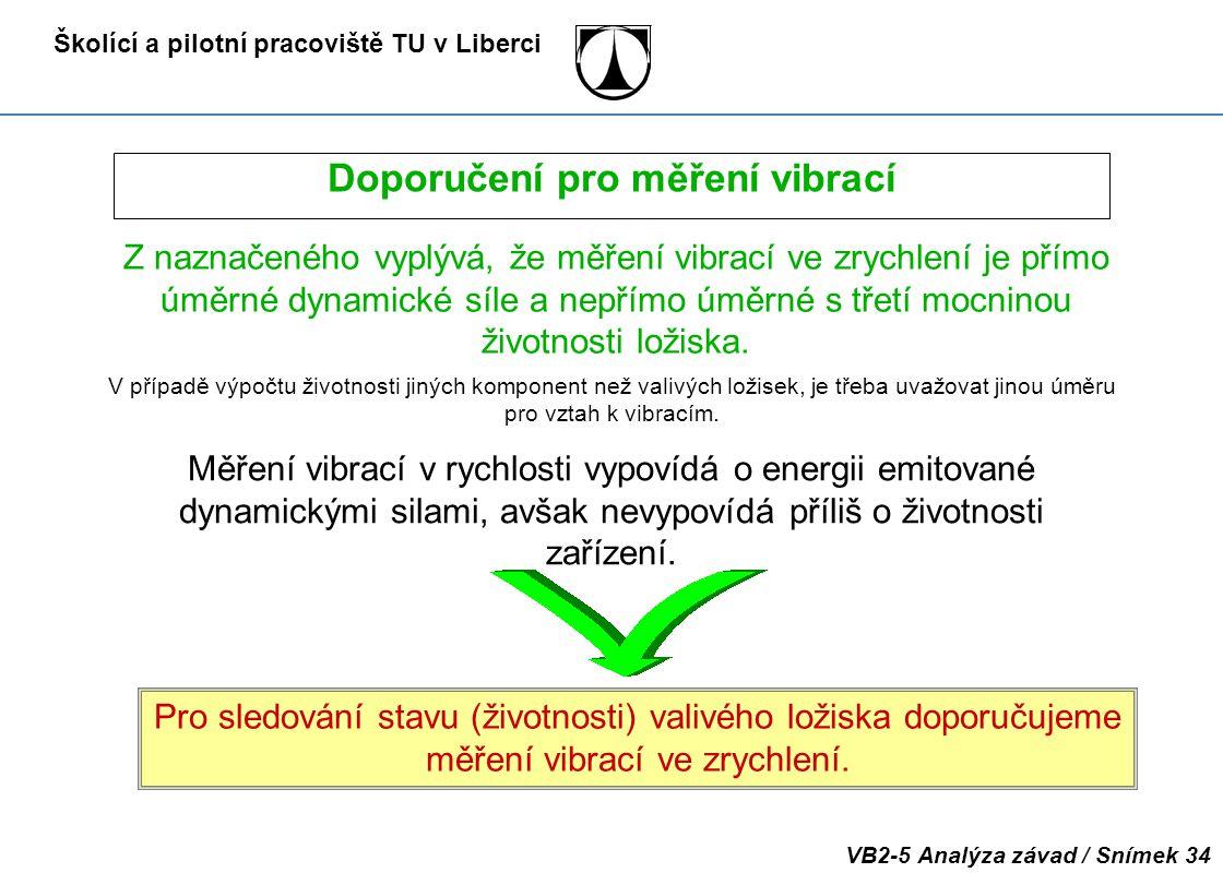 Školící a pilotní pracoviště TU v Liberci VB2-5 Analýza závad / Snímek 34 Doporučení pro měření vibrací Z naznačeného vyplývá, že měření vibrací ve zr
