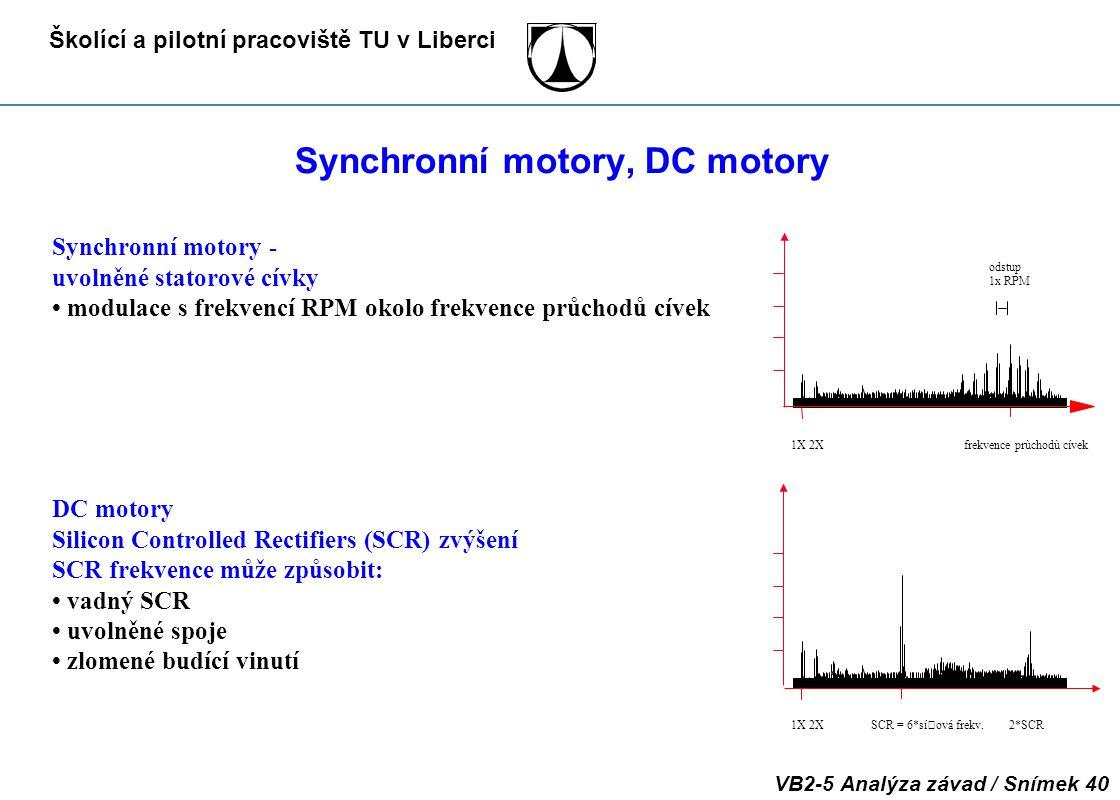 Školící a pilotní pracoviště TU v Liberci VB2-5 Analýza závad / Snímek 40 Synchronní motory, DC motory DC motory Silicon Controlled Rectifiers (SCR) z