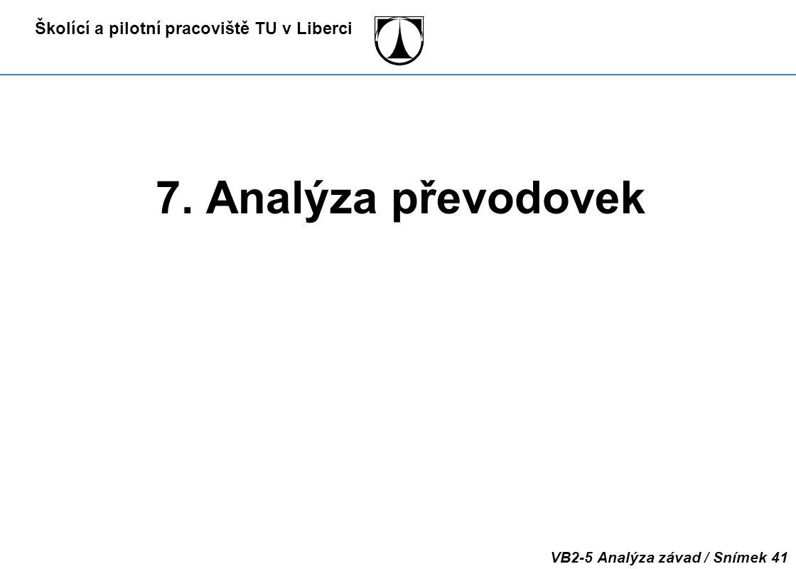 Školící a pilotní pracoviště TU v Liberci VB2-5 Analýza závad / Snímek 41 7. Analýza převodovek