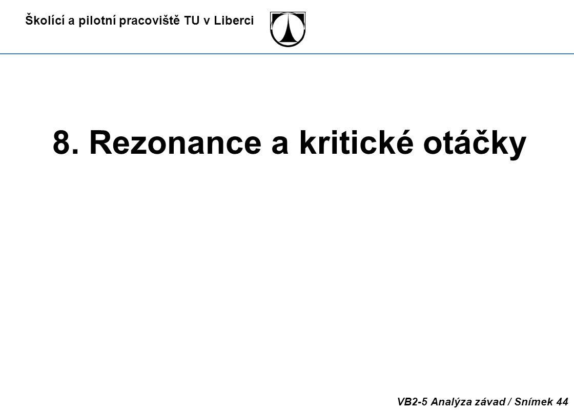 Školící a pilotní pracoviště TU v Liberci VB2-5 Analýza závad / Snímek 44 8. Rezonance a kritické otáčky