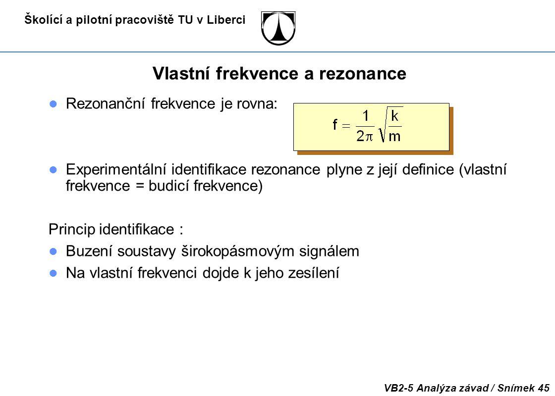Školící a pilotní pracoviště TU v Liberci VB2-5 Analýza závad / Snímek 45 Vlastní frekvence a rezonance Rezonanční frekvence je rovna: Experimentální