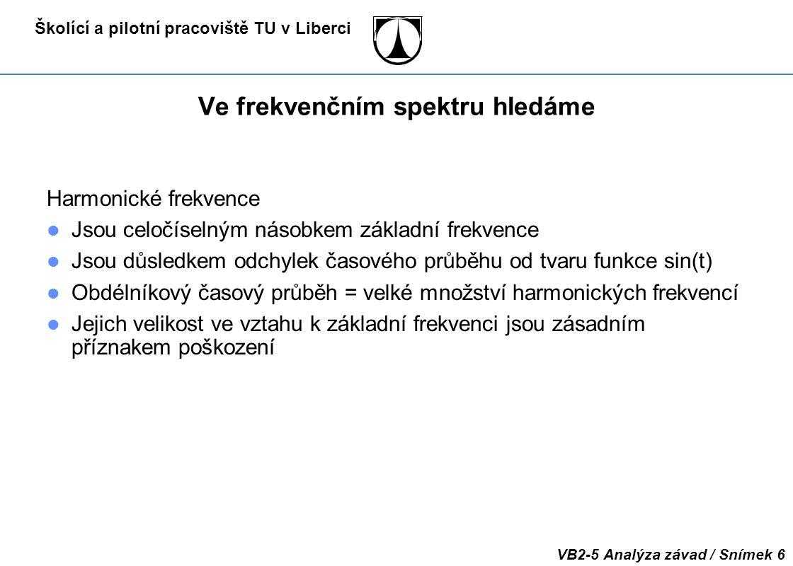 Školící a pilotní pracoviště TU v Liberci VB2-5 Analýza závad / Snímek 47 Bílý šum Čas Frekvence