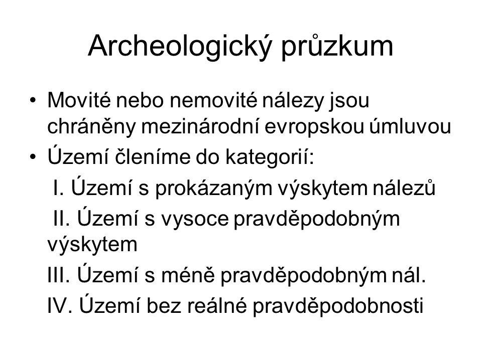 Archeologický průzkum Movité nebo nemovité nálezy jsou chráněny mezinárodní evropskou úmluvou Území členíme do kategorií: I. Území s prokázaným výskyt
