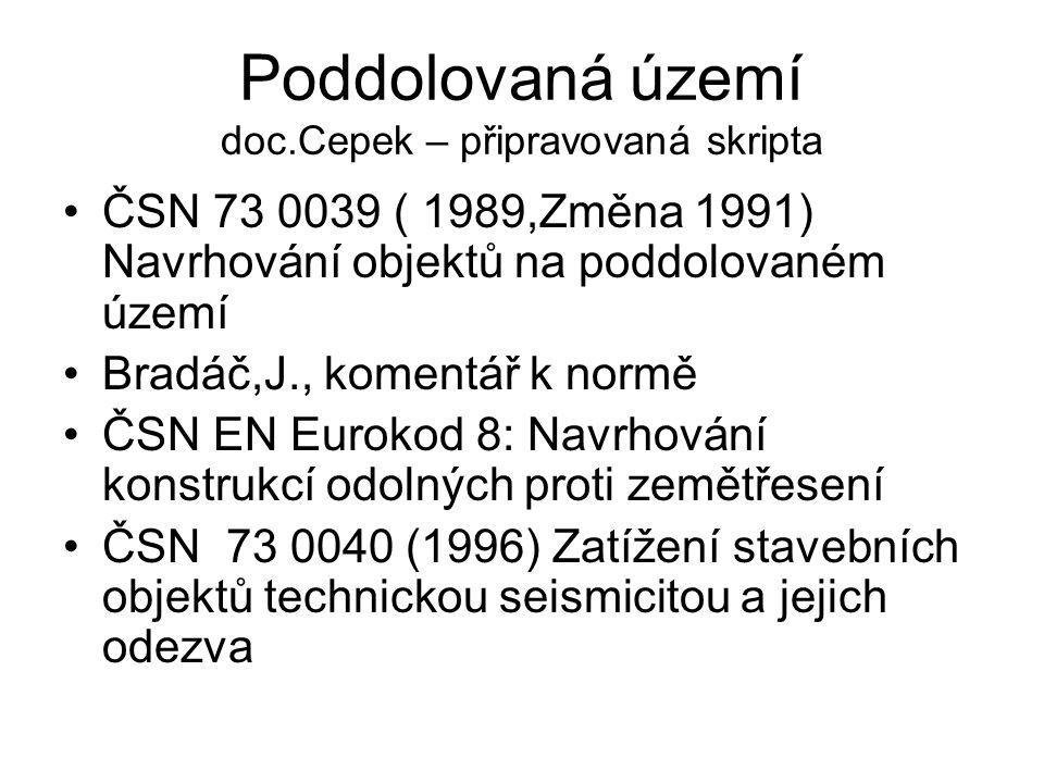 Poddolovaná území doc.Cepek – připravovaná skripta ČSN 73 0039 ( 1989,Změna 1991) Navrhování objektů na poddolovaném území Bradáč,J., komentář k normě