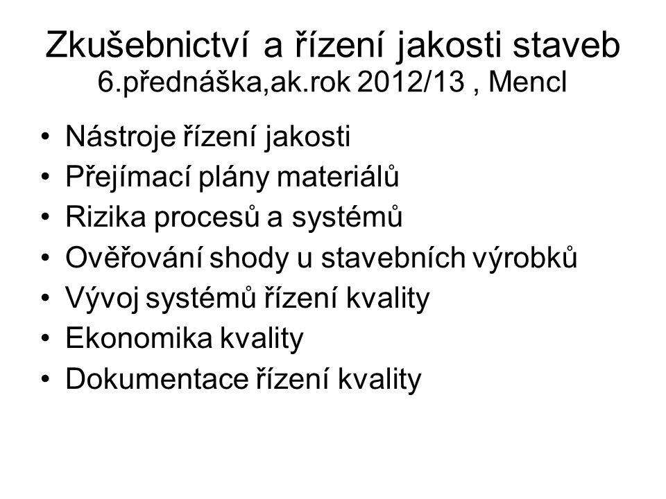 Zkušebnictví a řízení jakosti staveb 6.přednáška,ak.rok 2012/13, Mencl Nástroje řízení jakosti Přejímací plány materiálů Rizika procesů a systémů Ověř