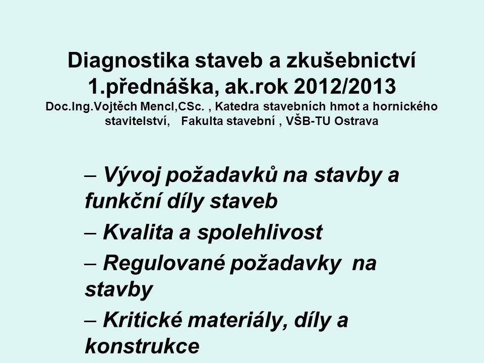 Diagnostika staveb a zkušebnictví 1.přednáška, ak.rok 2012/2013 Doc.Ing.Vojtěch Mencl,CSc., Katedra stavebních hmot a hornického stavitelství, Fakulta