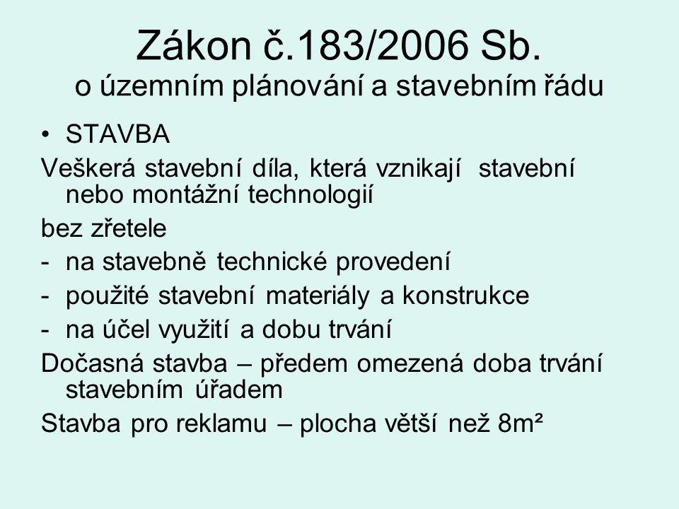 Zákon č.183/2006 Sb. o územním plánování a stavebním řádu STAVBA Veškerá stavební díla, která vznikají stavební nebo montážní technologií bez zřetele