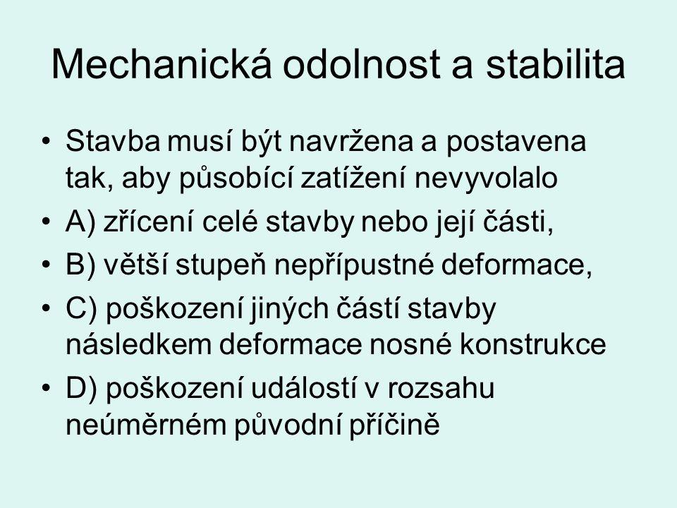 Mechanická odolnost a stabilita Stavba musí být navržena a postavena tak, aby působící zatížení nevyvolalo A) zřícení celé stavby nebo její části, B)