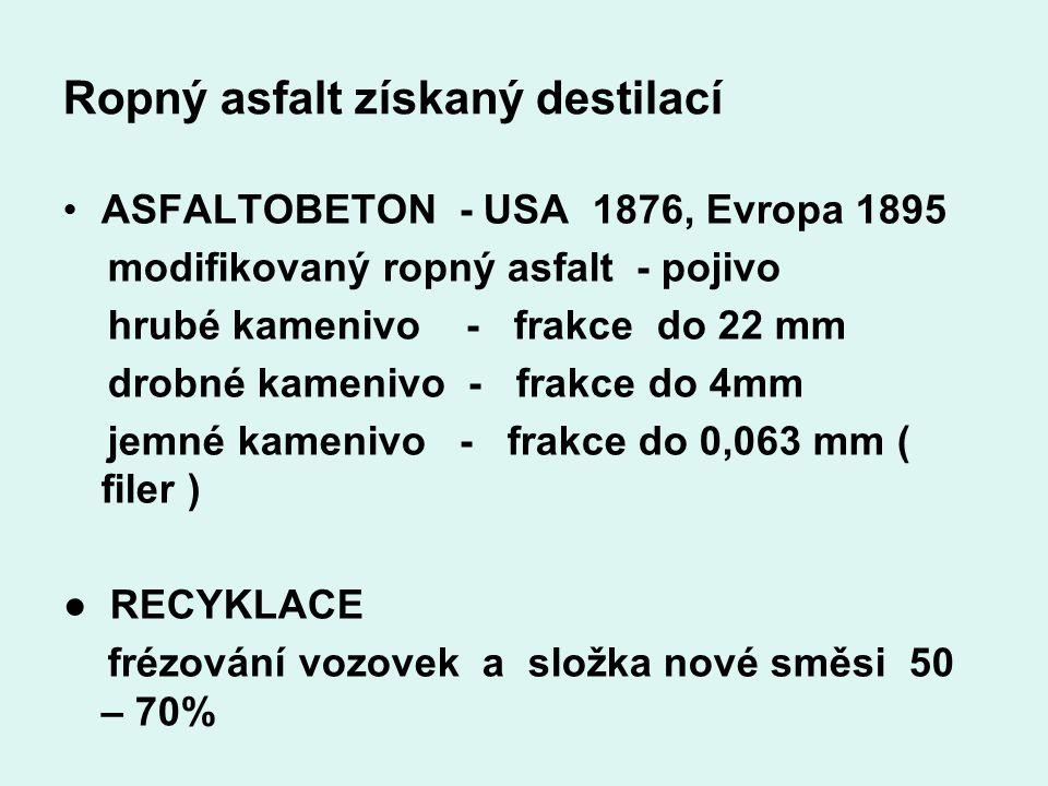 Ropný asfalt získaný destilací ASFALTOBETON - USA 1876, Evropa 1895 modifikovaný ropný asfalt - pojivo hrubé kamenivo - frakce do 22 mm drobné kameniv