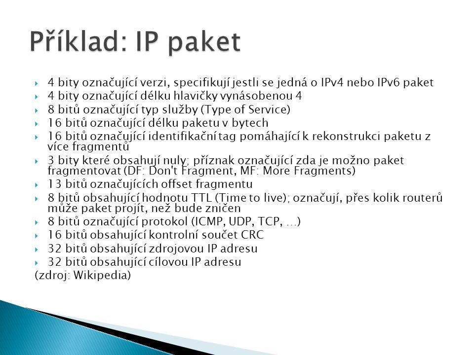  4 bity označující verzi, specifikují jestli se jedná o IPv4 nebo IPv6 paket  4 bity označující délku hlavičky vynásobenou 4  8 bitů označující typ služby (Type of Service)  16 bitů označující délku paketu v bytech  16 bitů označující identifikační tag pomáhající k rekonstrukci paketu z více fragmentů  3 bity které obsahují nuly; příznak označující zda je možno paket fragmentovat (DF: Don t Fragment, MF: More Fragments)  13 bitů označujících offset fragmentu  8 bitů obsahující hodnotu TTL (Time to live); označují, přes kolik routerů může paket projít, než bude zničen  8 bitů označující protokol (ICMP, UDP, TCP, …)  16 bitů obsahující kontrolní součet CRC  32 bitů obsahující zdrojovou IP adresu  32 bitů obsahující cílovou IP adresu (zdroj: Wikipedia)