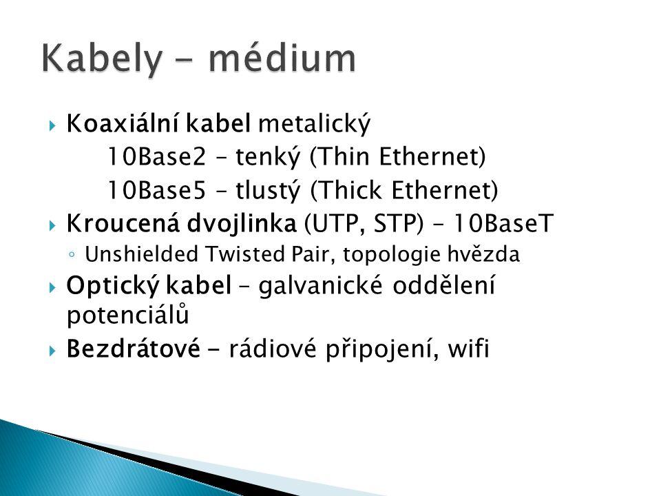  Koaxiální kabel metalický 10Base2 – tenký (Thin Ethernet) 10Base5 – tlustý (Thick Ethernet)  Kroucená dvojlinka (UTP, STP) – 10BaseT ◦ Unshielded Twisted Pair, topologie hvězda  Optický kabel – galvanické oddělení potenciálů  Bezdrátové - rádiové připojení, wifi