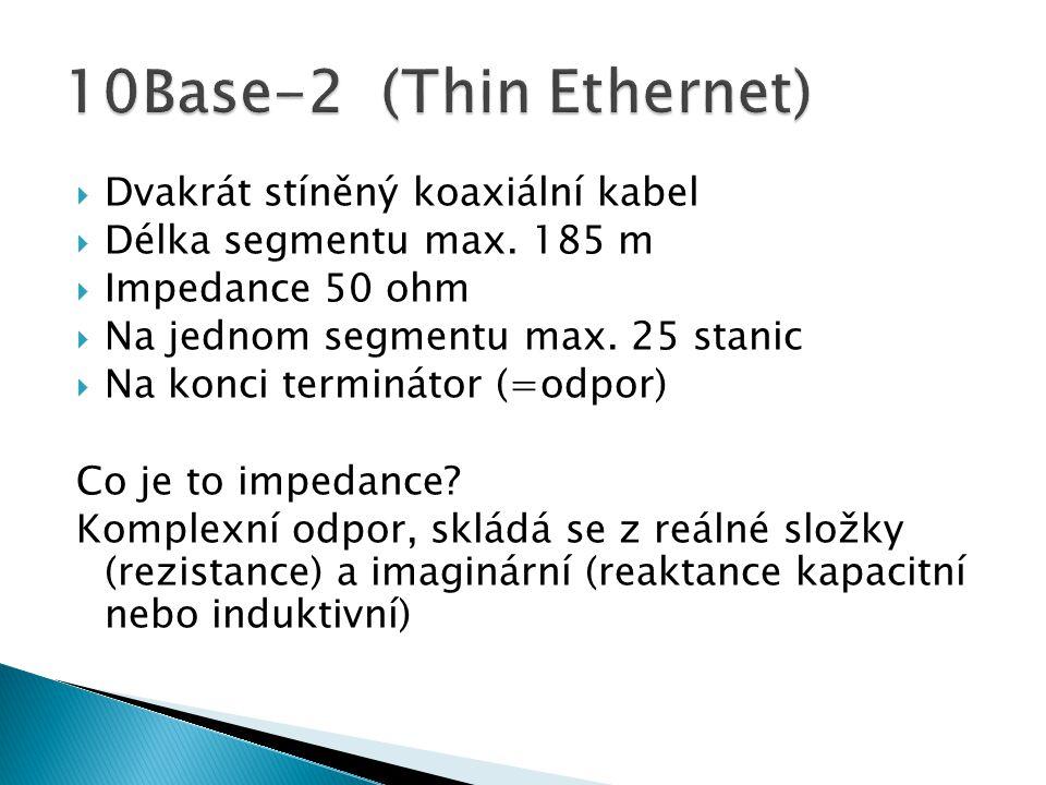  Dvakrát stíněný koaxiální kabel  Délka segmentu max. 185 m  Impedance 50 ohm  Na jednom segmentu max. 25 stanic  Na konci terminátor (=odpor) Co
