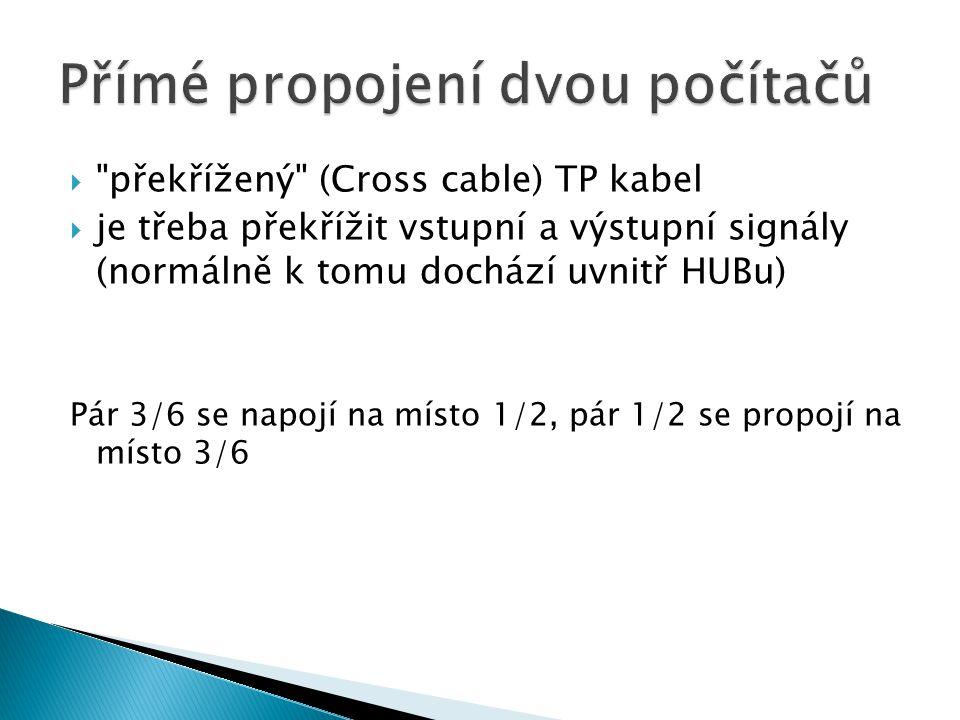  překřížený (Cross cable) TP kabel  je třeba překřížit vstupní a výstupní signály (normálně k tomu dochází uvnitř HUBu) Pár 3/6 se napojí na místo 1/2, pár 1/2 se propojí na místo 3/6