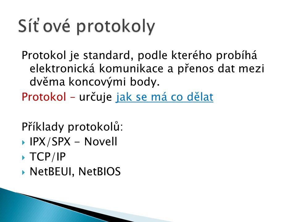 Protokol je standard, podle kterého probíhá elektronická komunikace a přenos dat mezi dvěma koncovými body. Protokol – určuje jak se má co dělat Příkl