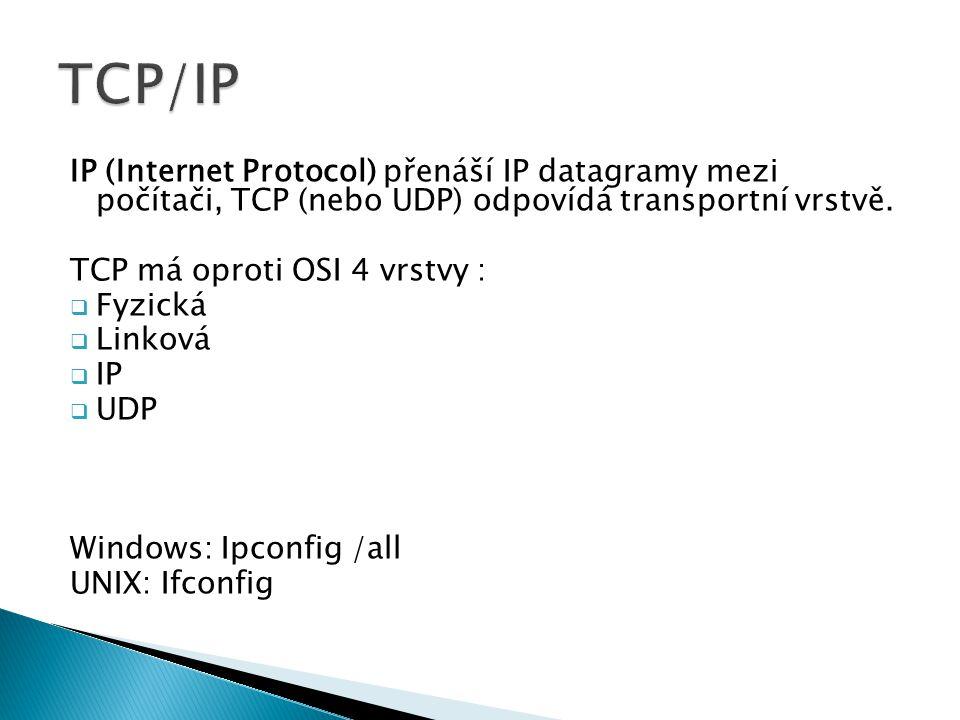 IP (Internet Protocol) přenáší IP datagramy mezi počítači, TCP (nebo UDP) odpovídá transportní vrstvě. TCP má oproti OSI 4 vrstvy :  Fyzická  Linkov
