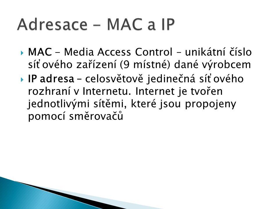  MAC - Media Access Control – unikátní číslo síťového zařízení (9 místné) dané výrobcem  IP adresa – celosvětově jedinečná síťového rozhraní v Internetu.