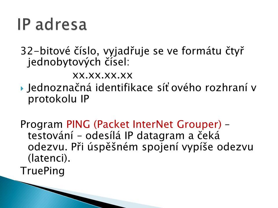 32-bitové číslo, vyjadřuje se ve formátu čtyř jednobytových čísel: xx.xx.xx.xx  Jednoznačná identifikace síťového rozhraní v protokolu IP Program PING (Packet InterNet Grouper) – testování – odesílá IP datagram a čeká odezvu.