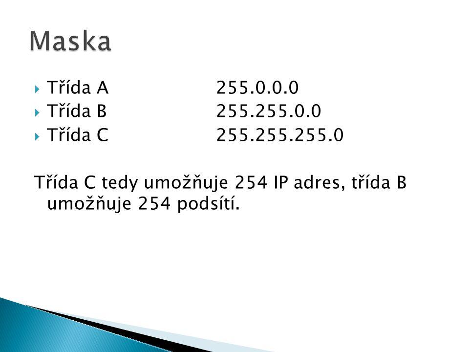  Třída A255.0.0.0  Třída B255.255.0.0  Třída C255.255.255.0 Třída C tedy umožňuje 254 IP adres, třída B umožňuje 254 podsítí.