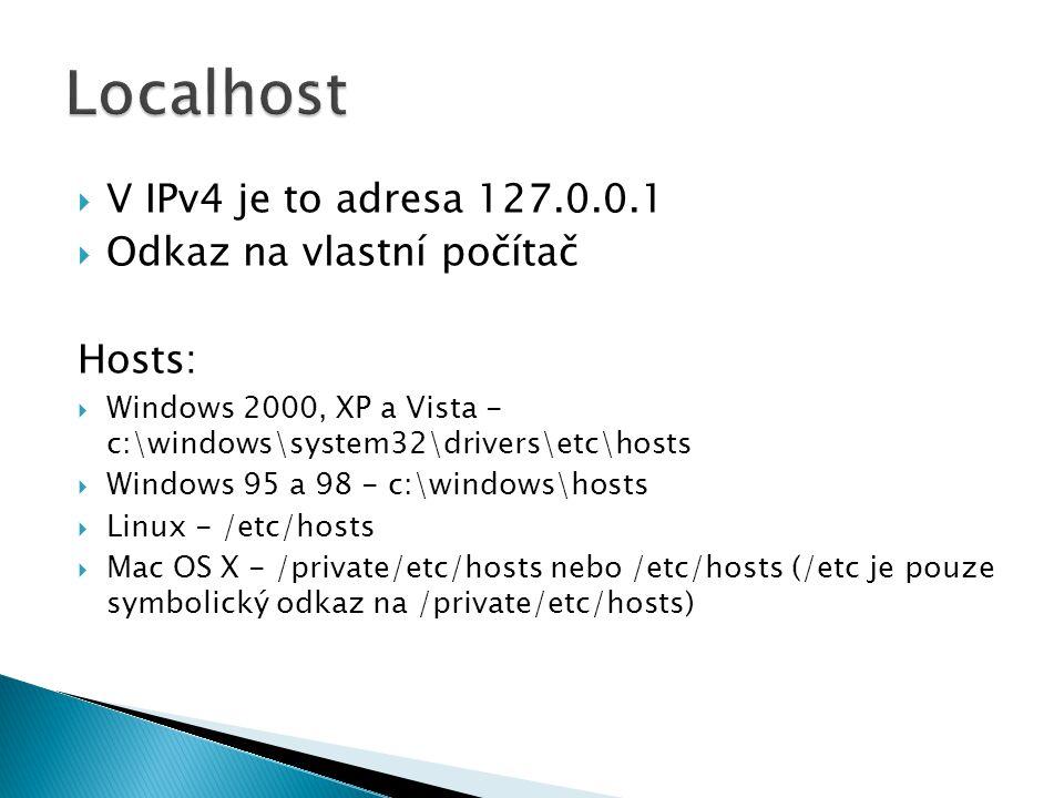  V IPv4 je to adresa 127.0.0.1  Odkaz na vlastní počítač Hosts:  Windows 2000, XP a Vista - c:\windows\system32\drivers\etc\hosts  Windows 95 a 98 - c:\windows\hosts  Linux - /etc/hosts  Mac OS X - /private/etc/hosts nebo /etc/hosts (/etc je pouze symbolický odkaz na /private/etc/hosts)