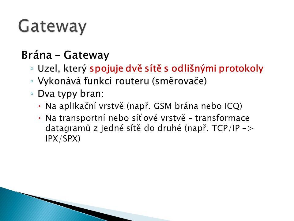 Brána – Gateway ◦ Uzel, který spojuje dvě sítě s odlišnými protokoly ◦ Vykonává funkci routeru (směrovače) ◦ Dva typy bran:  Na aplikační vrstvě (např.