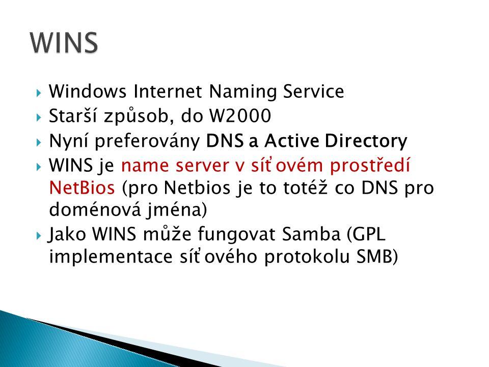  Windows Internet Naming Service  Starší způsob, do W2000  Nyní preferovány DNS a Active Directory  WINS je name server v síťovém prostředí NetBios (pro Netbios je to totéž co DNS pro doménová jména)  Jako WINS může fungovat Samba (GPL implementace síťového protokolu SMB)