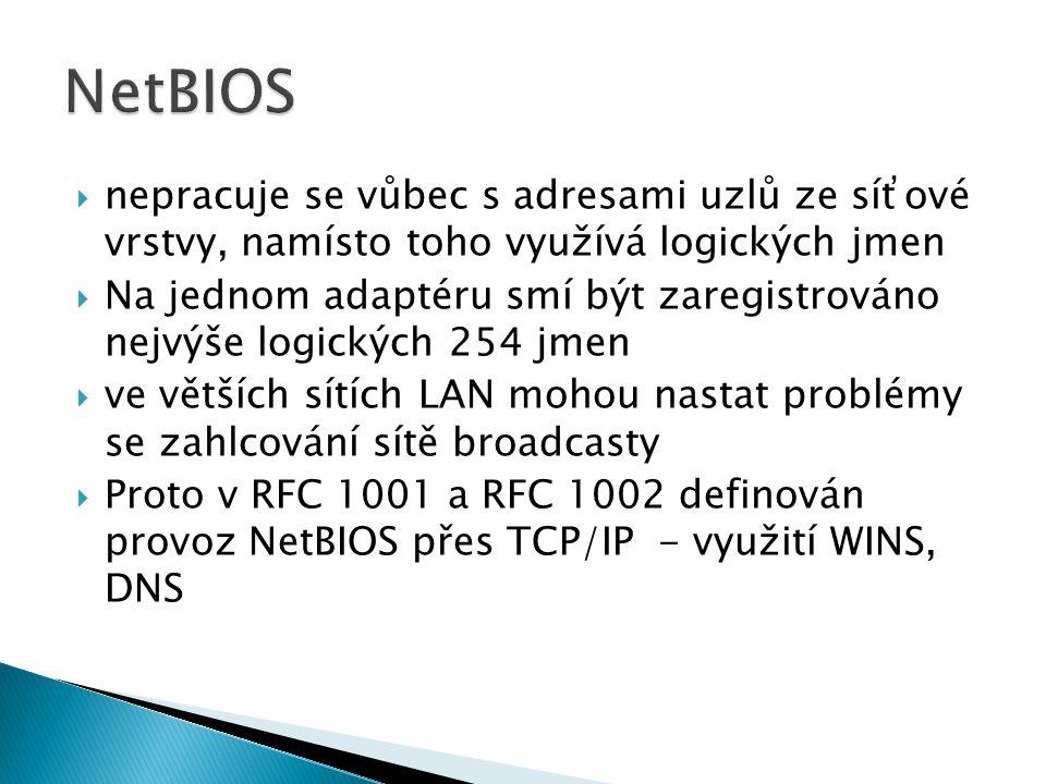  nepracuje se vůbec s adresami uzlů ze síťové vrstvy, namísto toho využívá logických jmen  Na jednom adaptéru smí být zaregistrováno nejvýše logických 254 jmen  ve větších sítích LAN mohou nastat problémy se zahlcování sítě broadcasty  Proto v RFC 1001 a RFC 1002 definován provoz NetBIOS přes TCP/IP - využití WINS, DNS