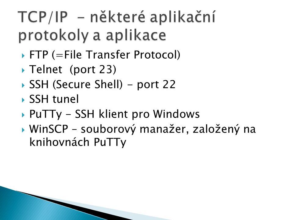 FTP (=File Transfer Protocol)  Telnet (port 23)  SSH (Secure Shell) - port 22  SSH tunel  PuTTy - SSH klient pro Windows  WinSCP – souborový ma