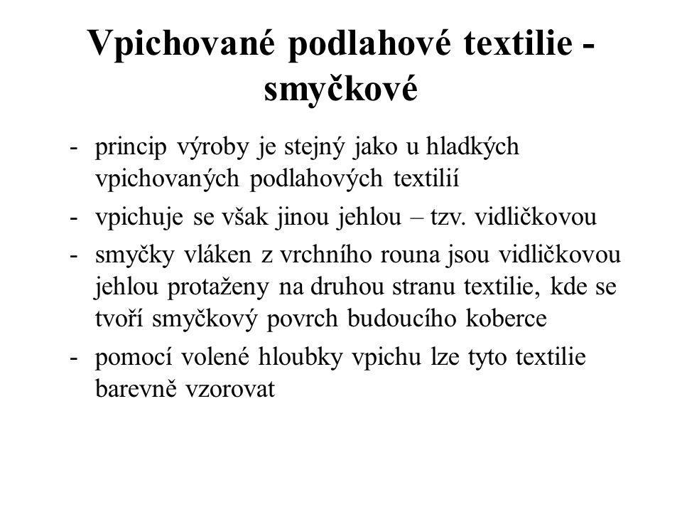 Vpichované podlahové textilie – hladké ukázka vpichovaného koberce hladkého klasická vpichovací jehla