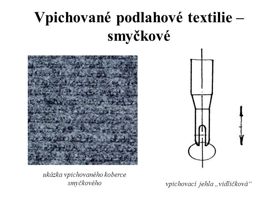 Vpichované podlahové textilie - smyčkové -princip výroby je stejný jako u hladkých vpichovaných podlahových textilií -vpichuje se však jinou jehlou –