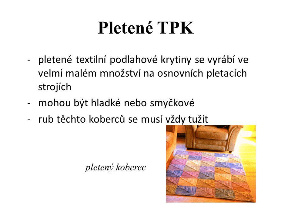 """Vpichované podlahové textilie – smyčkové ukázka vpichovaného koberce smyčkového vpichovací jehla """"vidličková"""""""