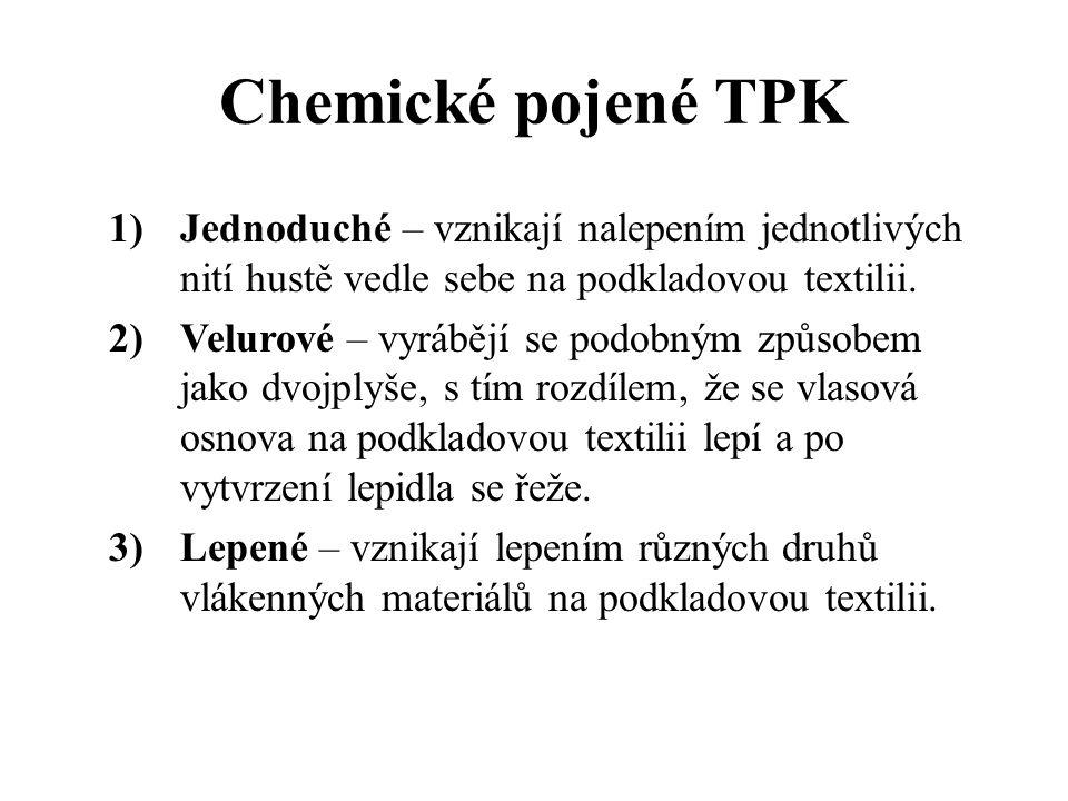 Pletené TPK -pletené textilní podlahové krytiny se vyrábí ve velmi malém množství na osnovních pletacích strojích -mohou být hladké nebo smyčkové -rub