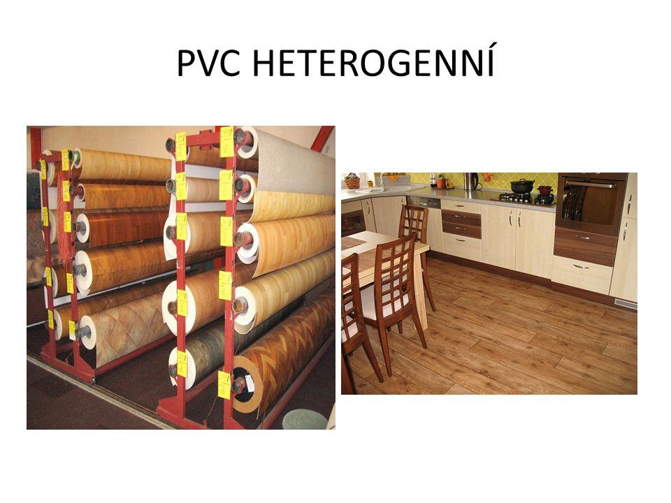 Struktura heterogenní PVC podlahové krytiny 1) nášlapná vrstva 2) nosná vrstva 3) zpevňující podkladová vrstva (jen u některých typů)