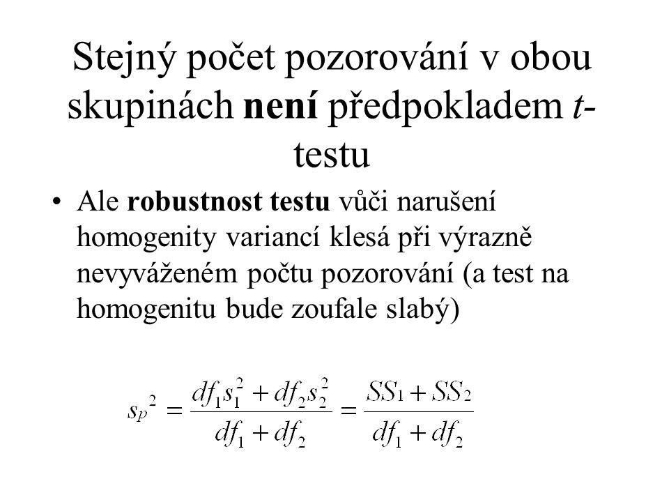 Pokud je narušena homogenita variancí, lze užít aproximaci Welchovo přibližné t s přibližným počtem stupňů volnosti Existují i jiné aproximace t-testu