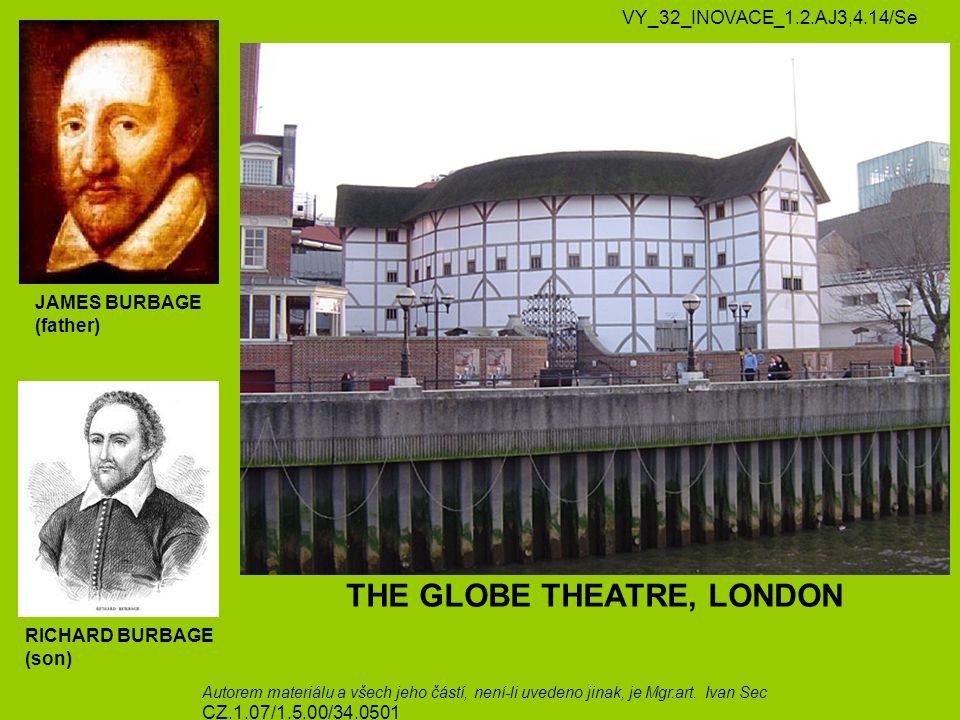 JAMES BURBAGE (father) RICHARD BURBAGE (son) THE GLOBE THEATRE, LONDON VY_32_INOVACE_1.2.AJ3,4.14/Se Autorem materiálu a všech jeho částí, není-li uvedeno jinak, je Mgr.art.
