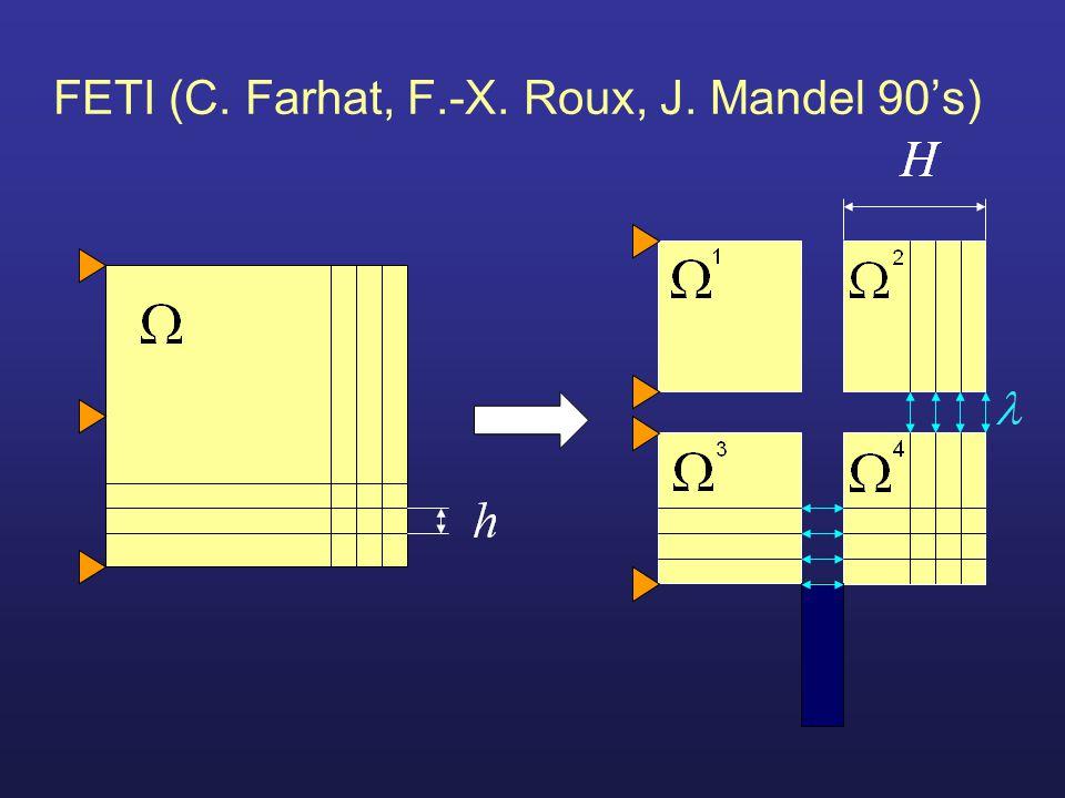 FETI (C. Farhat, F.-X. Roux, J. Mandel 90's)