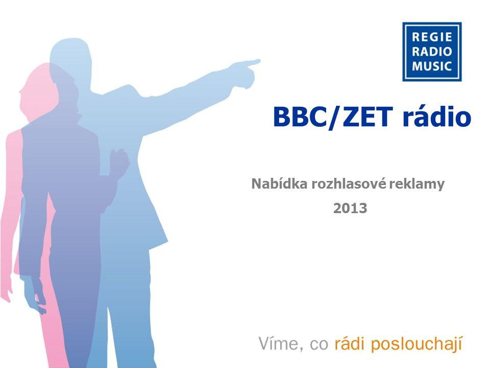 BBC/ZET rádio Charakteristika BBC/ZET rádio Zpravodajsko-informační stanice, jejíž značnou součástí je vysílání BBC World Service Cílení manažeři a vedoucí pracovníci, sociodemografická skupina A-B 48% posluchačů tvoří A skupina = nejvyšší sociální status, prestižní zaměstnání a vysoké příjmy 92% posluchačů jsou muži 55,7 % posluchačů je vysokoškolsky vzdělaných Poslech 55 tis.