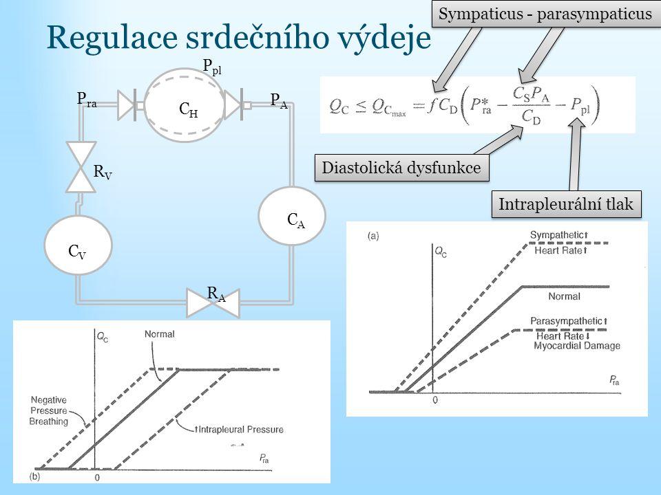 Regulace srdečního výdeje Sympaticus - parasympaticus Diastolická dysfunkce Intrapleurální tlak CHCH CACA CVCV RARA RVRV PAPA P ra P pl