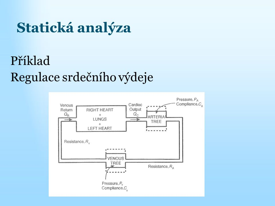 Statická analýza Příklad Regulace srdečního výdeje
