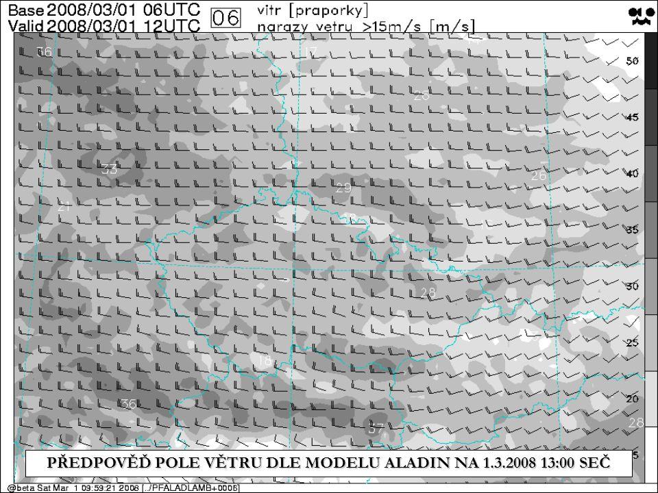 PŘEDPOVĚĎ POLE VĚTRU DLE MODELU ALADIN NA 1.3.2008 13:00 SEČ