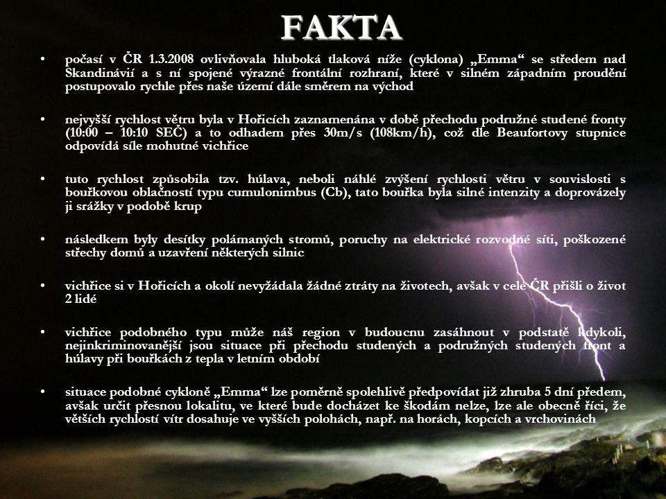 """FAKTA počasí v ČR 1.3.2008 ovlivňovala hluboká tlaková níže (cyklona) """"Emma"""" se středem nad Skandinávií a s ní spojené výrazné frontální rozhraní, kte"""
